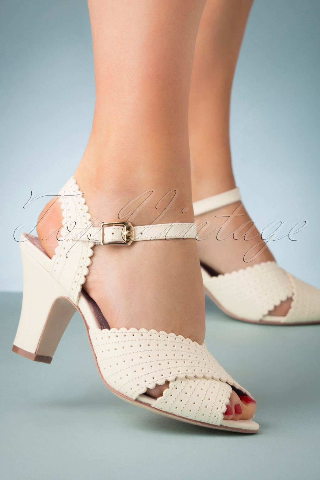 Pin Up Shoes- Heels, Pumps & Flats 50s Beatriz Leather Sandals in Cream £146.73 AT vintagedancer.com