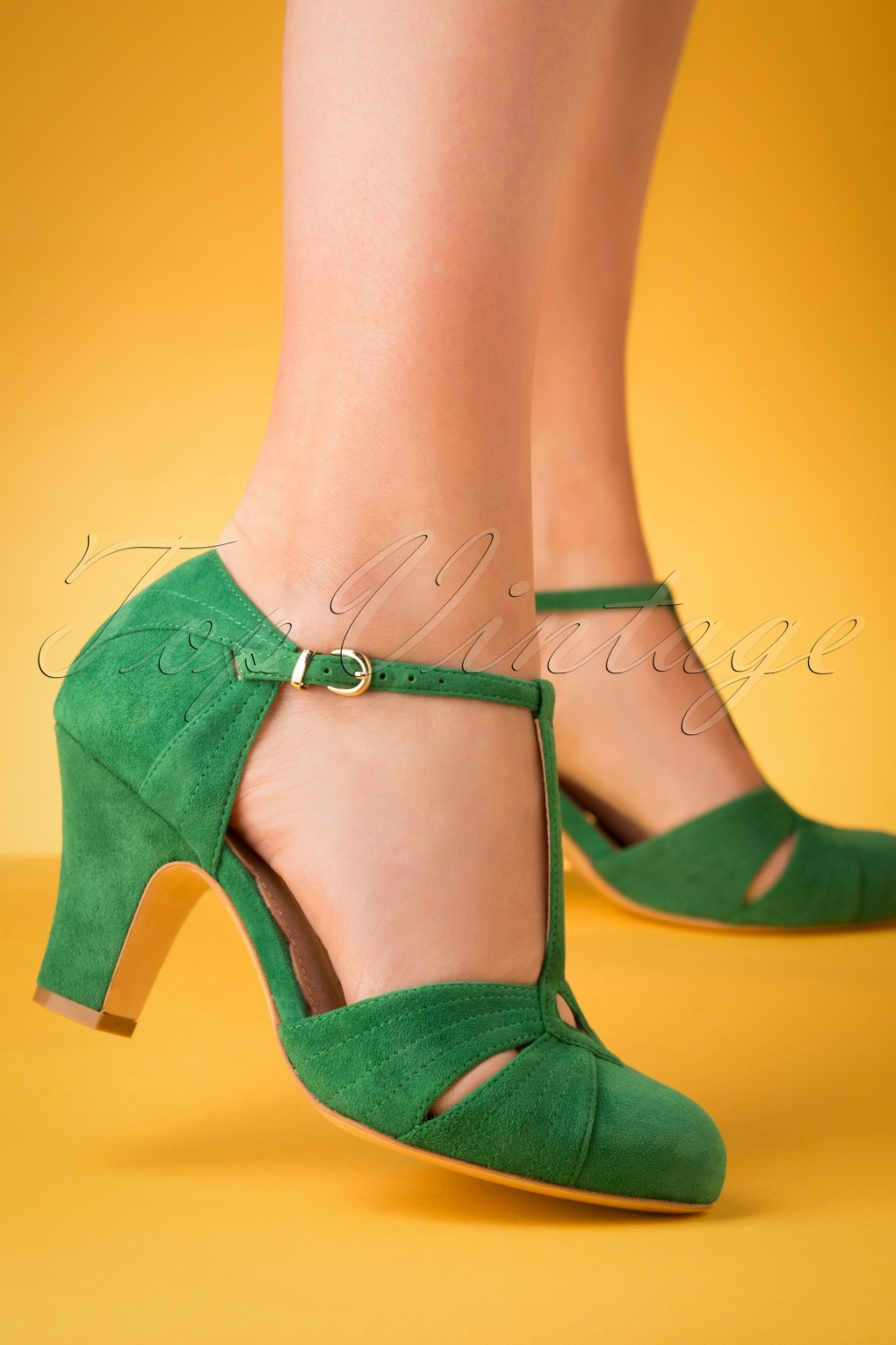 Vintage 1920s Shoe Styles 20s Hepworth Suede T-Strap Pumps in Green £150.35 AT vintagedancer.com