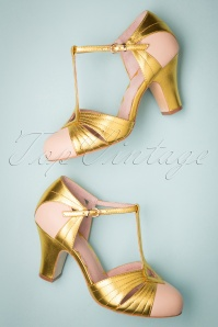 Miss L-Fire 20s Hepworth T-Strap Pumps in Gold and Nude