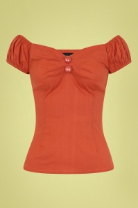 Collectif 30242 Dolores Vintage Top Burnt Orange 20181128 001W