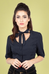 40s Alex Polkadot Blouse in Navy