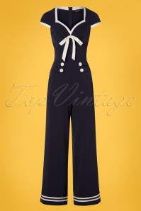 50s Jonene Nautical Jumpsuit in Navy
