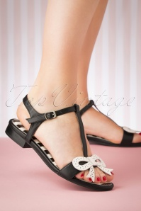 60s Penny Wicked Sandals in Black and White