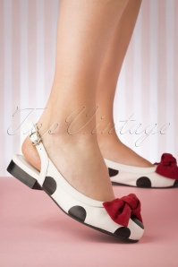 60s Penny Chipper Bow Slingback Flats in White