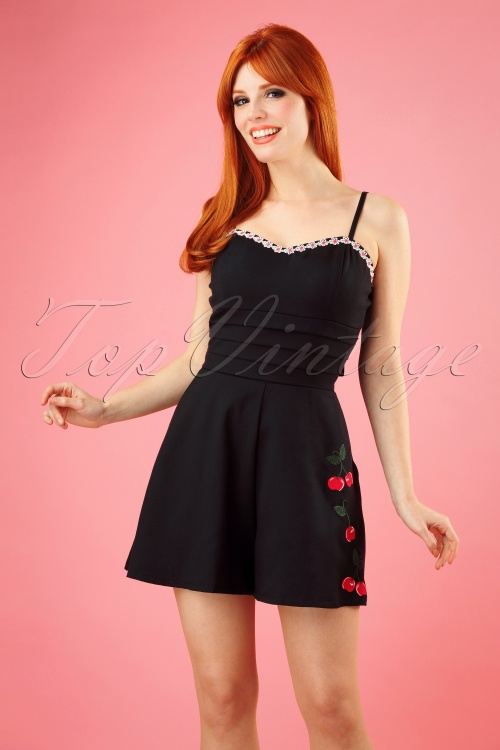 ba90648f7734d9 50s Ariel Cherry and Blossom Playsuit in Black