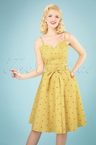 50s Emily Swing Skirt in Cherry Stripe Yellow