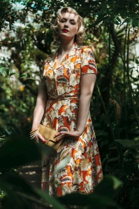40s Hibiscus Flowers Revers Dress in Montana Dust
