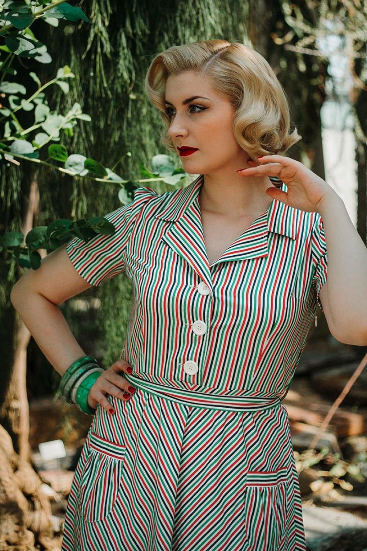 Swing Dance Dresses | Lindy Hop Dresses & Clothing 40s Mimi Stripes Revers Dress in Multi £92.58 AT vintagedancer.com