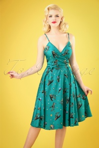 50s Iris Cactus Wrap Dress in Turquoise