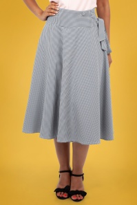 50s Elizabeth Gingham Swing Skirt in Black and White