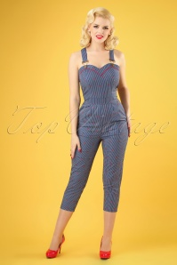 50s Bailey Cherry Stripe Capri Overalls in Blue