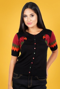 Vixen 50s Lydia Tropical Bird Cardigan in Black