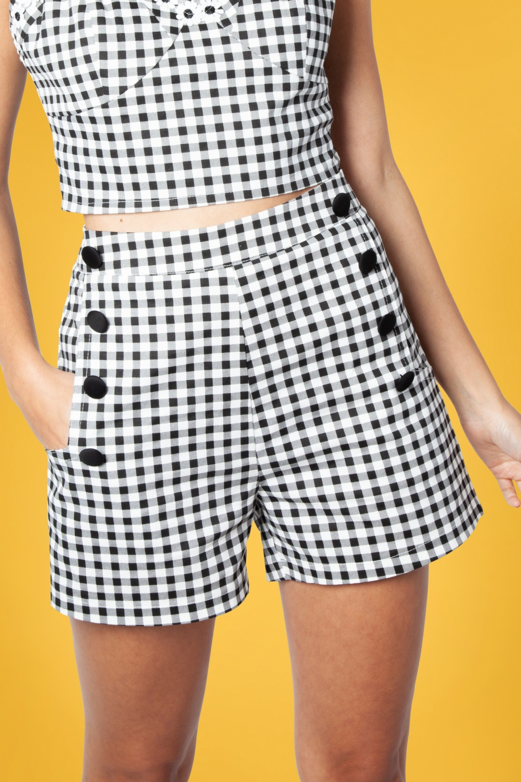 1950s Shorts History | Summer Clothing 50s Mila Gingham Shorts in Black and White �28.45 AT vintagedancer.com