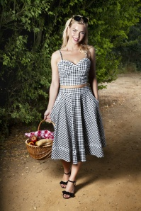 50s Addison Daisy Trim Top in Gingham