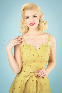 50s Natalie Top in Cherry Stripe Yellow