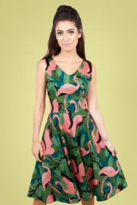50s Fifi Flamingo Flared Dress in Green