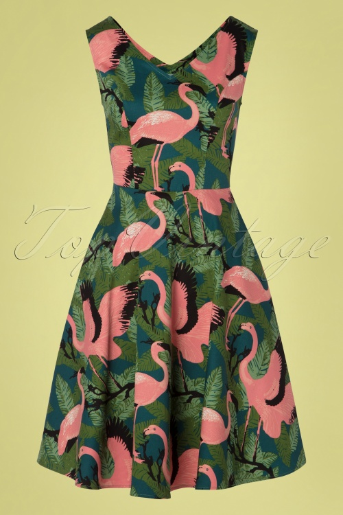 87f092a2c246 Vixen 28303 50s Fifi Flamingo Dress 20190328 001W