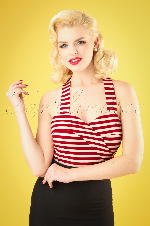 Sailor Dresses, Nautical Theme Dress, WW2 Dresses 50s Ronnie Halter Top in Red Stripes �22.93 AT vintagedancer.com