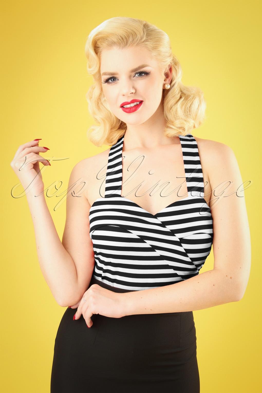 Sailor Dresses, Nautical Theme Dress, WW2 Dresses 50s Ronnie Halter Top in Black Stripes �22.93 AT vintagedancer.com