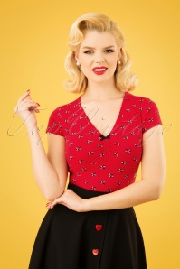 50s Lucky Frontluke Tee in Street Swallow Red