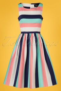 50s Candice Striped Swing Dress in Seaside Stripes