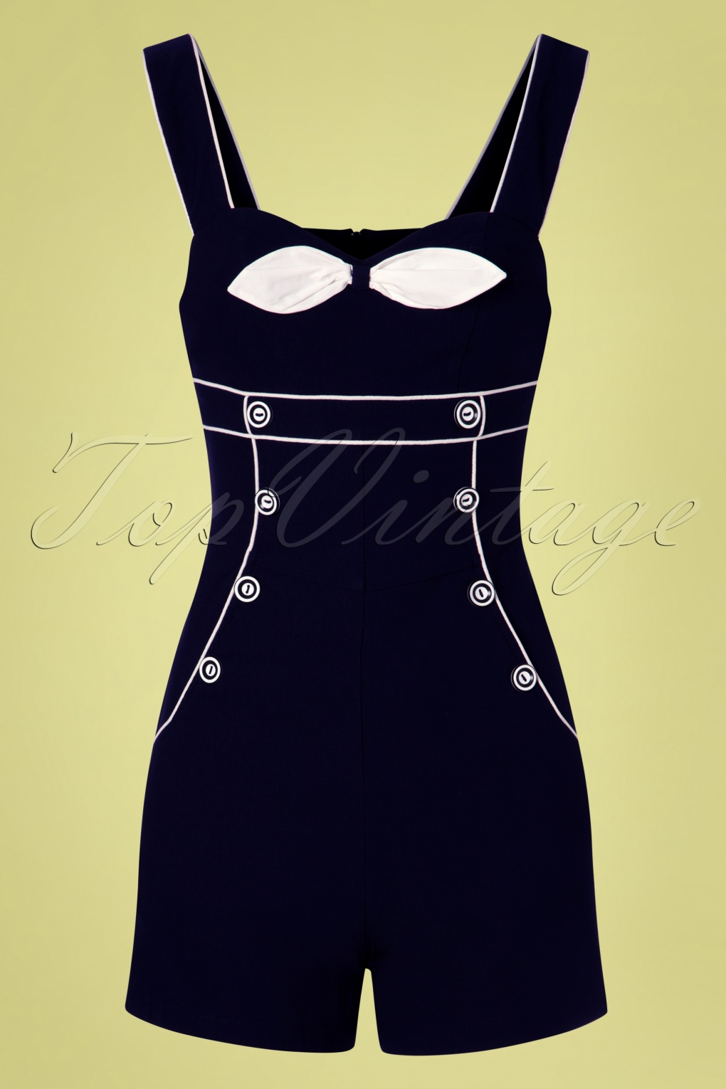 Vintage Rompers, Playsuits | Retro, Pin Up, Rockabilly Playsuits 50s Eliza Nautical Playsuit in Navy �50.19 AT vintagedancer.com