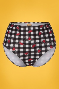 50s Melon Gingham High Waist Bikini Brief in Black and White