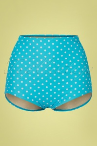 50s Polly Polkadot Bikini Pants in Aqua Blue
