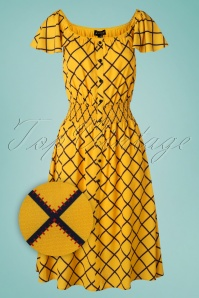 70s Pat Harlequin Stitch Dress in Yellow