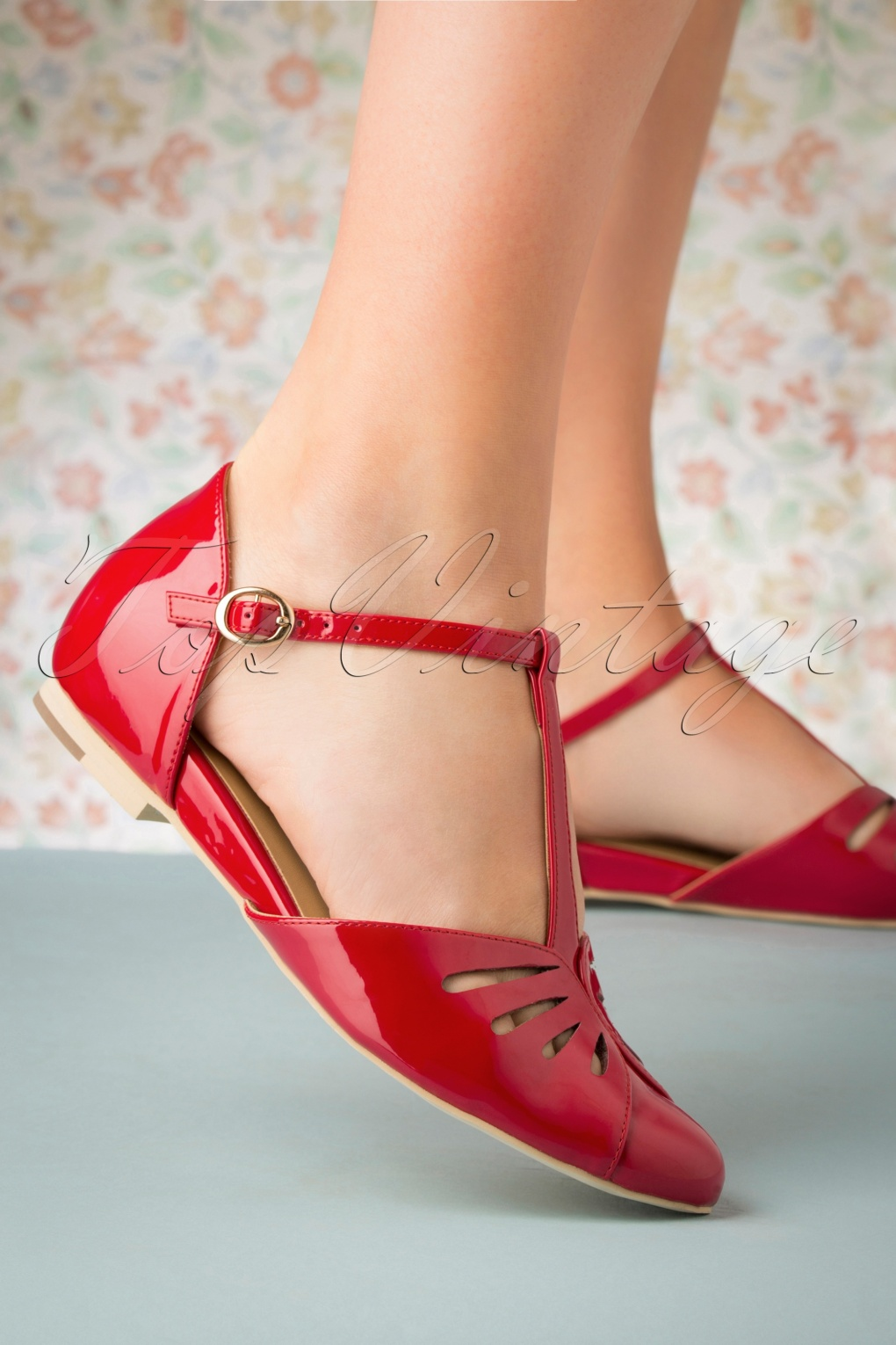 Pin Up Shoes- Heels, Pumps & Flats 50s Firenze T-Strap Flats in Deep Red �99.24 AT vintagedancer.com