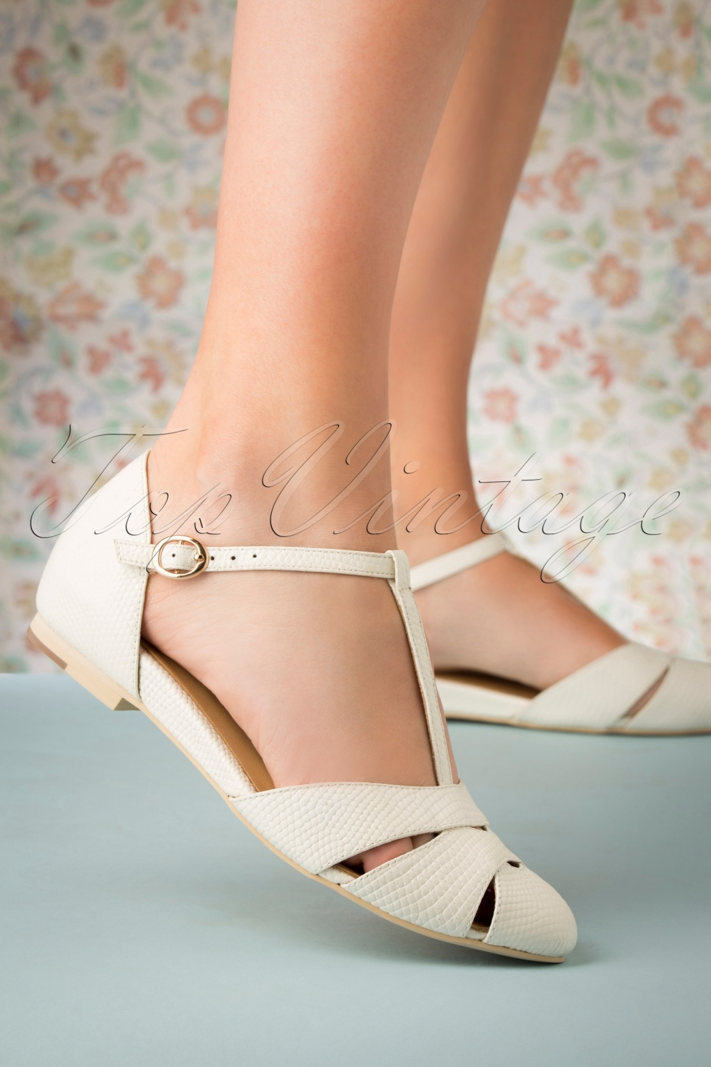 Retro Vintage Flats and Low Heel Shoes 50s Sardinia T-Strap Flats in Ivory £19.95 AT vintagedancer.com