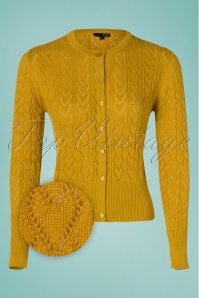 60s Heart Crew Cardigan in Mustard Yellow