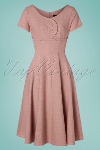 50s Rosey Jewel Swing Dress in Pink