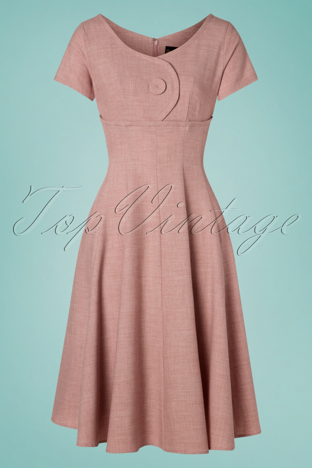 50 Vintage Inspired Clothing Stores 50s Rosey Jewel Swing Dress in Pink £98.79 AT vintagedancer.com