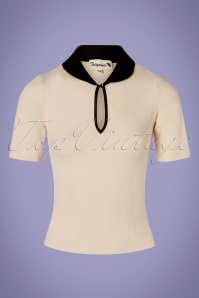 50s Keynote Top in Ivory and Black