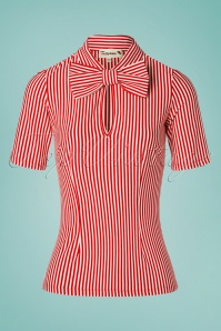 50s All Aboard Blouse in Red and White