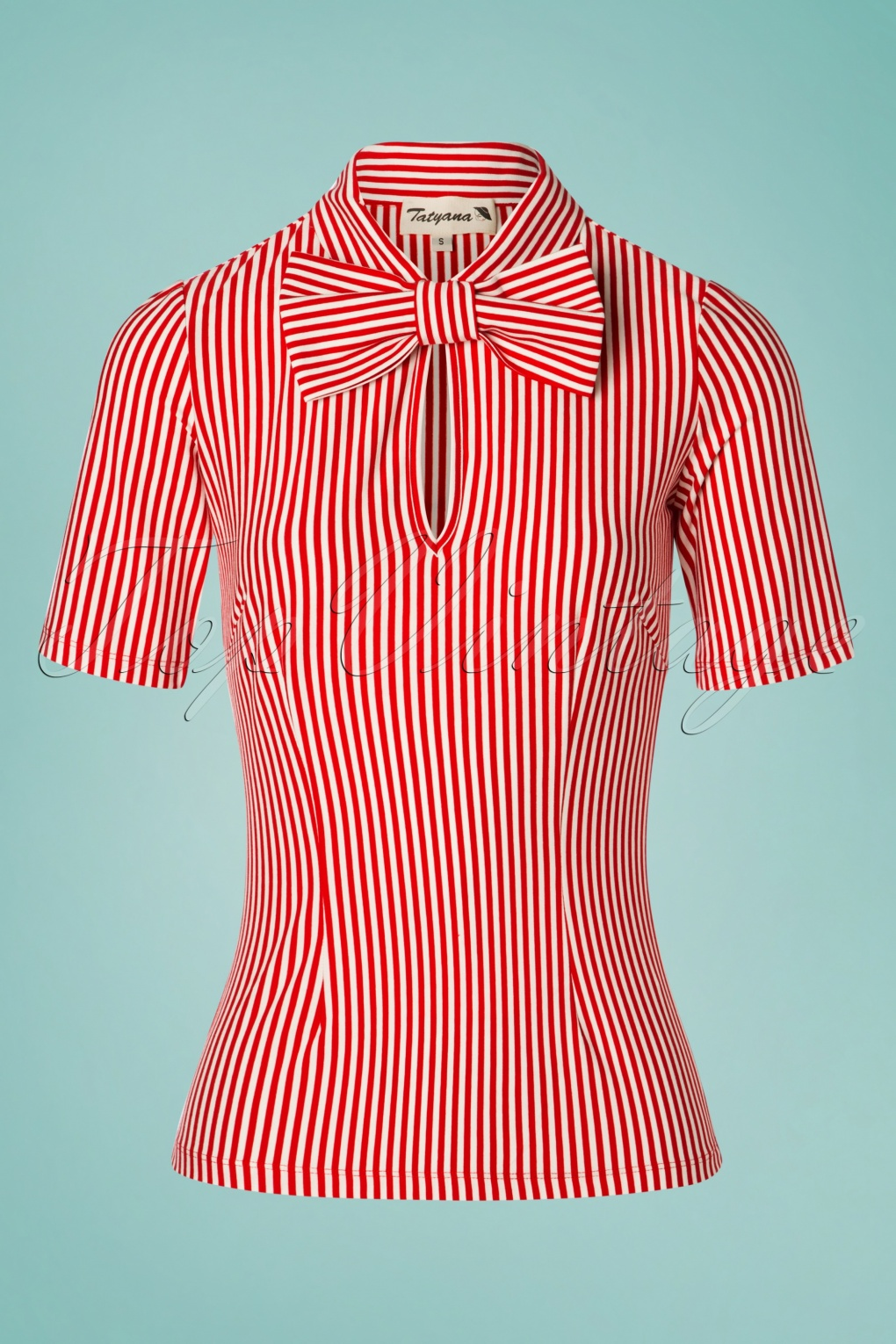 Sailor Dresses, Nautical Theme Dress, WW2 Dresses 50s All Aboard Blouse in Red and White �57.40 AT vintagedancer.com