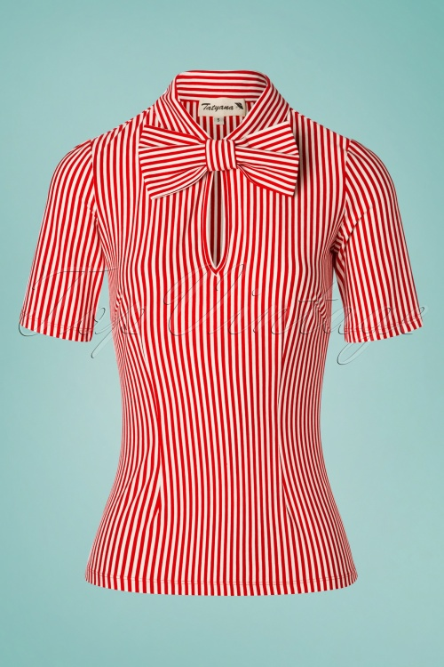 Tatyana 29512 All Abroad Red White Striped Top 20190401 003W