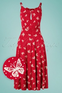50s The Alice Butterfly Dress in Red and White