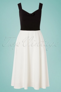 50s Amara Bow Swing Dress in Black and Ivory