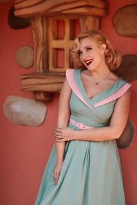 50s Drizella Minty Swing Dress in Duck Egg and Pink