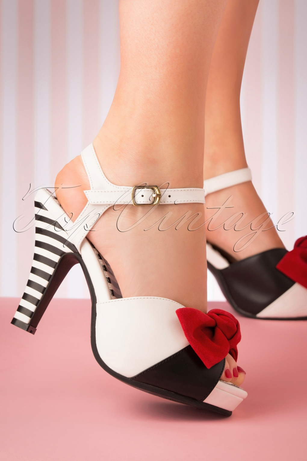 50s Angie Tribute Sandals in White and