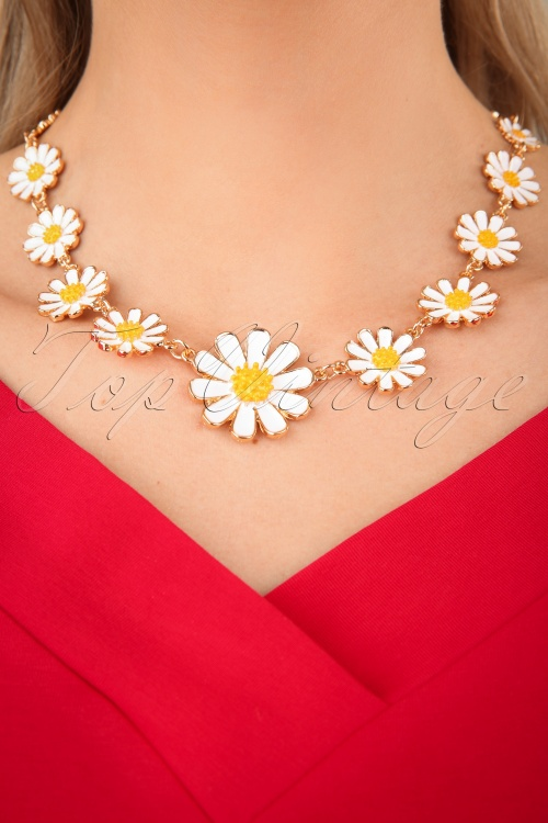 Collectif Clothing 27271 Necklace Flower Yellow White Daisy 20190320 002 W