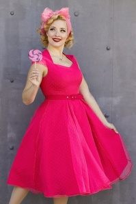 50s Celia Polkadot Swing Dress in Magenta Pink