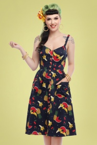 Collectif Clothing 27425 Kimberly Polka Fruit Swing Dress 20180814 020W