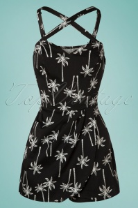 Collectif Clothing 50s Mahina Vintage Palm Playsuit in Black