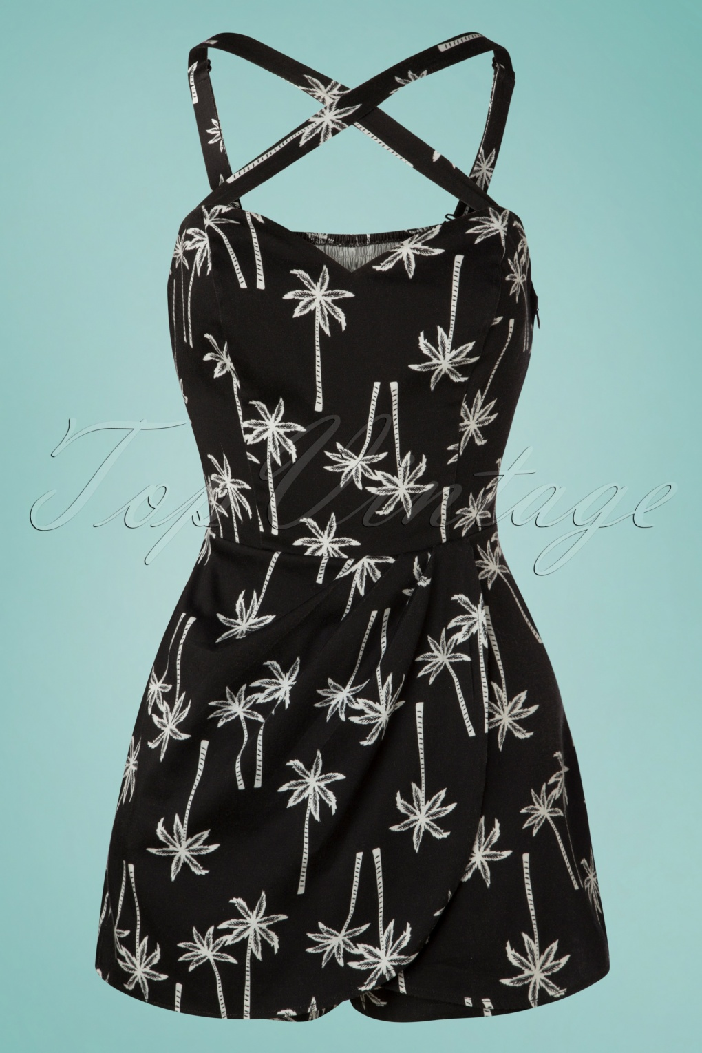 1960s Style Dresses, Clothing, Shoes UK 50s Mahina Vintage Palm Playsuit in Black �46.65 AT vintagedancer.com