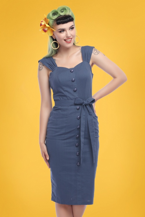 Collectif Clothing 27462 Marlene Plain Pencil Dress 20180815 020M