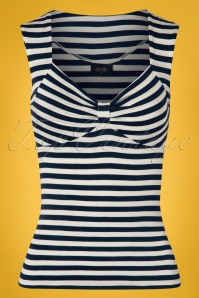 50s Sweetheart Sleeveless Top in Navy and Ivory