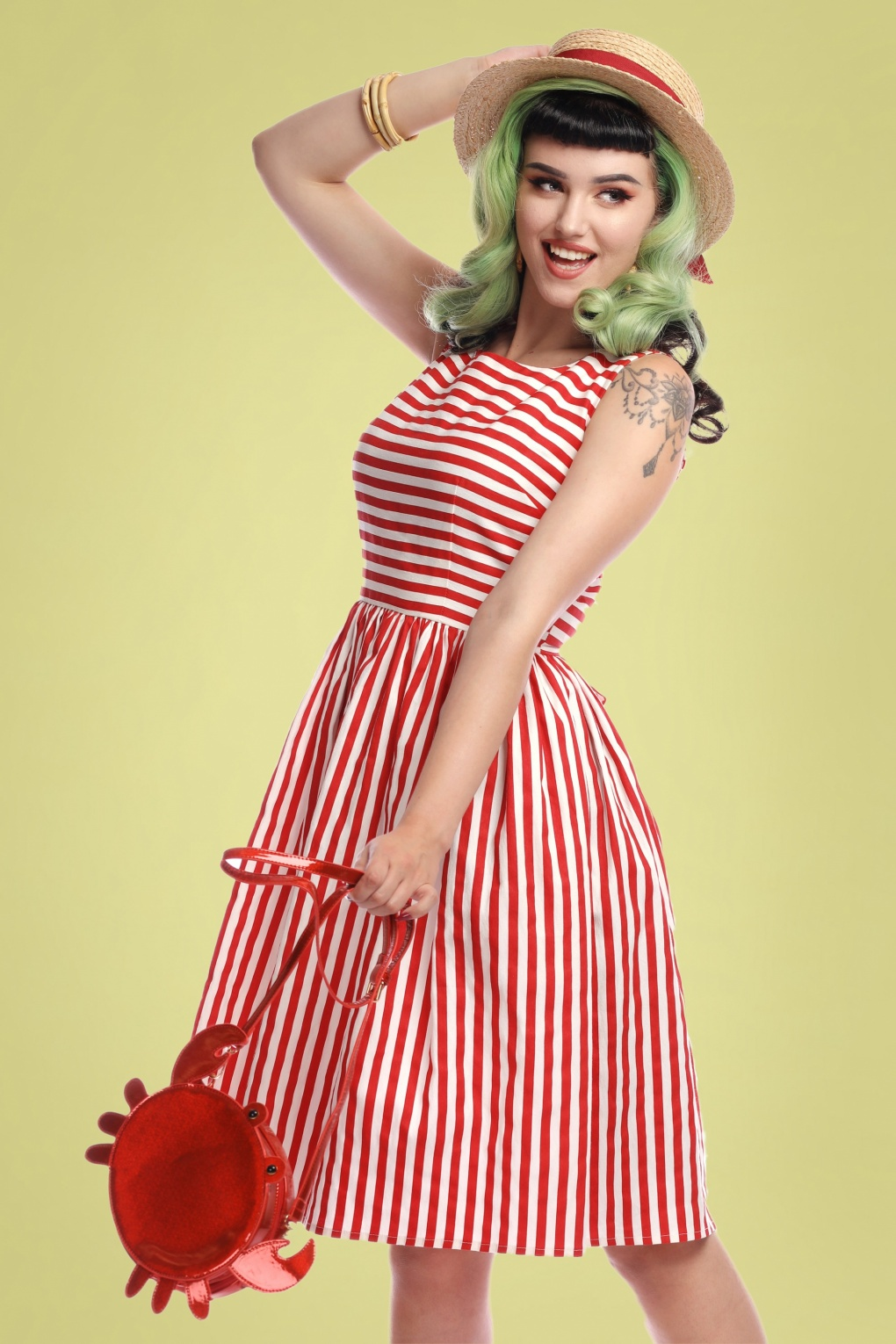 Sailor Dresses, Nautical Theme Dress, WW2 Dresses 50s Candice Striped Swing Dress in Red and White �58.28 AT vintagedancer.com